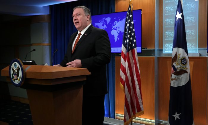 Secretary of State Mike Pompeo delivers remarks in the press briefing room of the State Department March 13, 2019 in Washington. (Alex Wong/Getty Images)