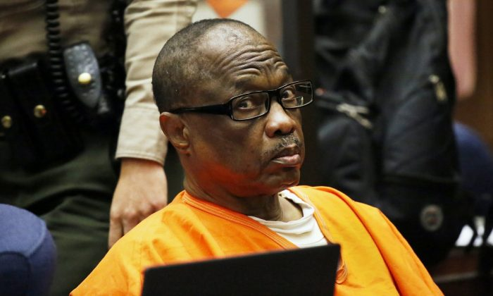 """Lonnie Franklin Jr., a convicted serial killer known as the """"Grim Sleeper,"""" is sentenced in Los Angeles Superior Court. (Al Seib/Los Angeles Times via AP)"""