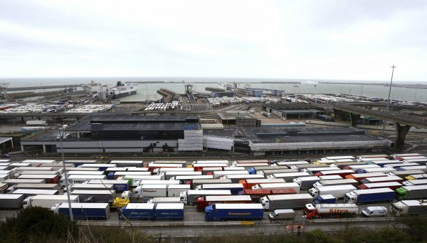 Trucks line up at the entrance to the Port of Dover