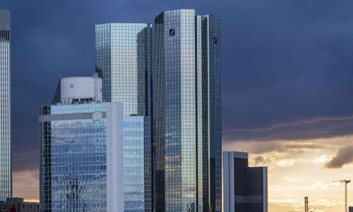 FRANKFURT AM MAIN, GERMANY - MARCH 07: Office buildings, including the corporate headquarters of Deutsche Bank, stand in the financial district in the city center on March 7, 2019 in Frankfurt, Germany. Some finance-related companies have been moving offices from London to Frankfurt due to uncertainties over Brexit. (Photo by Thomas Lohnes/Getty Images)