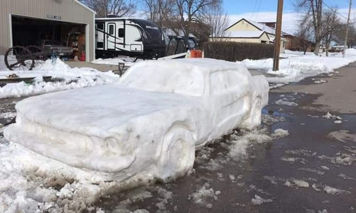 Nebraska State Patrol intercepted this Ford Mustang made entirely from snow in Chadron, Neb., on March 9, 2019. (Courtesy of Nebraska State Patrol)