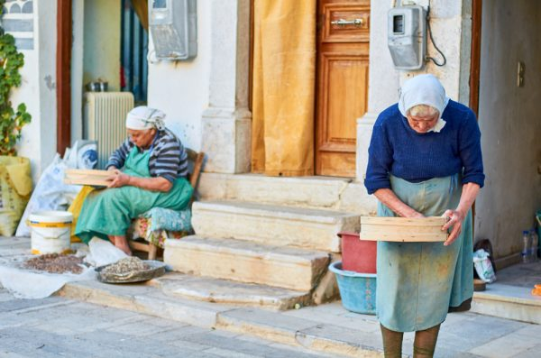 Old ladies clean mastiha by hand in Chios village