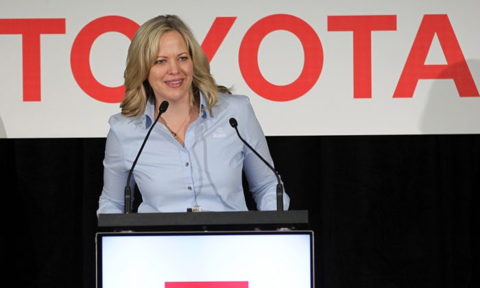 Toyota Motor Manufacturing Kentucky President Susan Elkington addresses the crowd after they unveiled the new 2019 Toyota RAV4 Hybrid at the Toyota Motor Manufacturing plant in Georgetown, Kentucky on March 14, 2019. (John Sommers II/Getty Images)