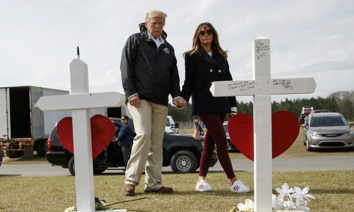 Trump, Melania visit crosses