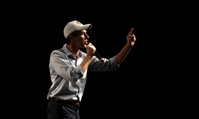 Texas representative and senatorial Democratic Party candidate Beto O'Rourke delivers a speech at the University of Texas, in El Paso, Texas, on Nov. 5, 2018. (Paul Ratje/AFP/Getty Images)