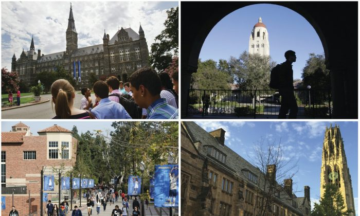 This combination of images shows college campuses, clockwise from top left, Georgetown University, Stanford University, Yale University, and University of California, Los Angeles. (AP Photos)