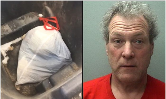 Robert Wild and the bag of puppies found by police, on Feb. 28, 2019.  (Marshfield Police Department)