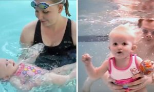 Adorable 16-Month-Old Jumps in and Swims to the Other Side of the Pool in Just One Breath