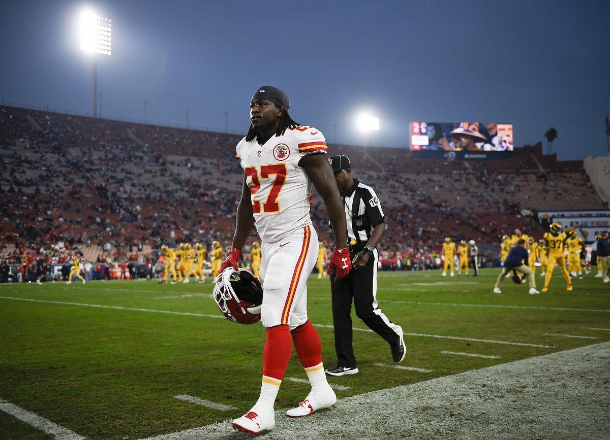 Kansas City Chiefs running back Kareem Hunt walks off the field prior to an NFL football game