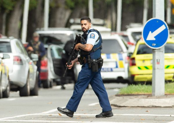 armed police officer on the scene