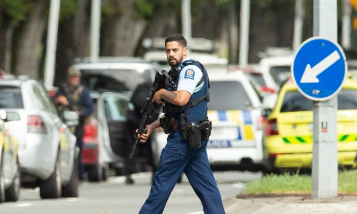 Armed police following a shooting at the Al Noor mosque in Christchurch, New Zealand, on March 15, 2019. (Reuters/SNPA/Martin Hunter)