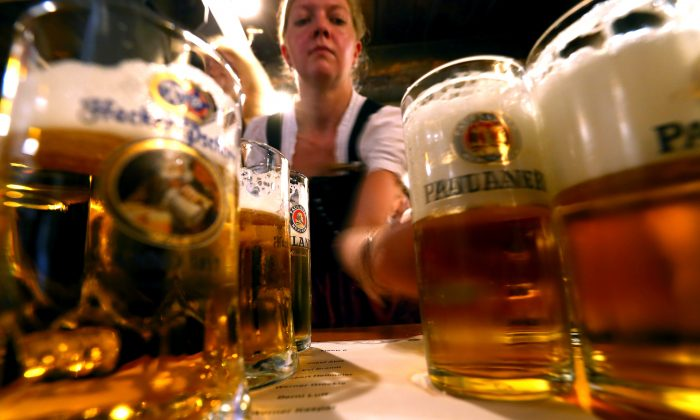 Glasses of Paulaner beer during a festival in Germany on Sept. 12, 2016. The Paulaner brewery was established by monks in the 17th century, who found a way of brewing beer with enough nutrients to sustain them through Lent without food. (Alexander Hassenstein/Getty Images)
