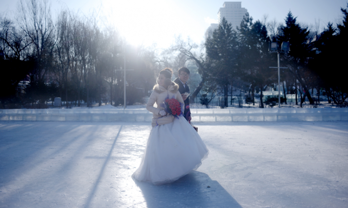 A wedding ceremony as part of the Harbin International Ice and Snow Festival. (WANG ZHAO/AFP/Getty Images)