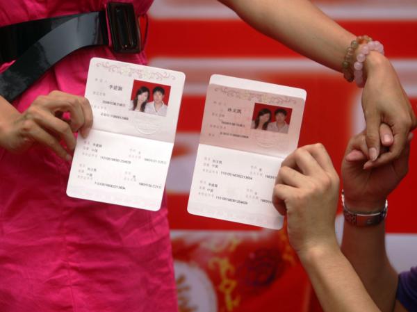 China wedding certificates