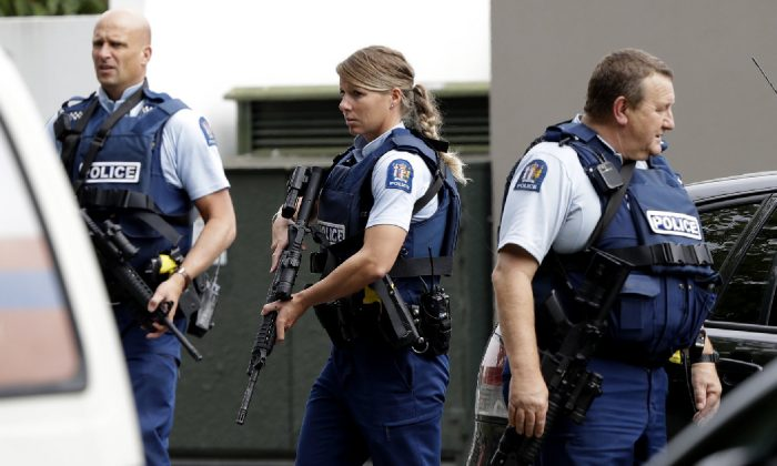 Armed police patrol outside a mosque in central Christchurch, New Zealand, on March 15, 2019. (Mark Baker/AP)