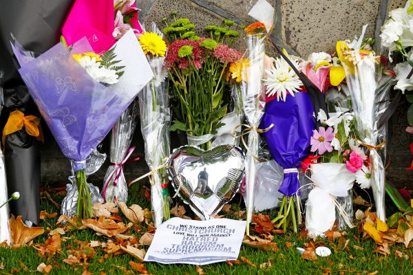 Flowers memorial Christchurch mosque attack
