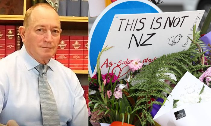 An undated photo of independent Queensland Senator Fraser Anning (L) (CC BY 3.0/Wikimedia Commons). Floral tributes (R) near the Al Noor mosque, in Christchurch, New Zealand, on March 16, 2019. (Fiona Goodall/Getty Images)