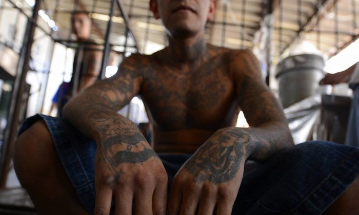An MS-13 gang member in detention in San Miguel, El Salvador, on March 4, 2013. (Marvin Recinos/AFP/Getty Images)