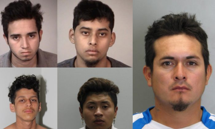 Jonathan Castillo- Rivera (top L), Christian Martinez-Ramirez (bottom L), Kevin Rodriquez- Flores (top C), Jose Hernandez-Garcia (Bottom C) and Jose Ordonez- Zometa (far R). (Prince George's County Police Department)