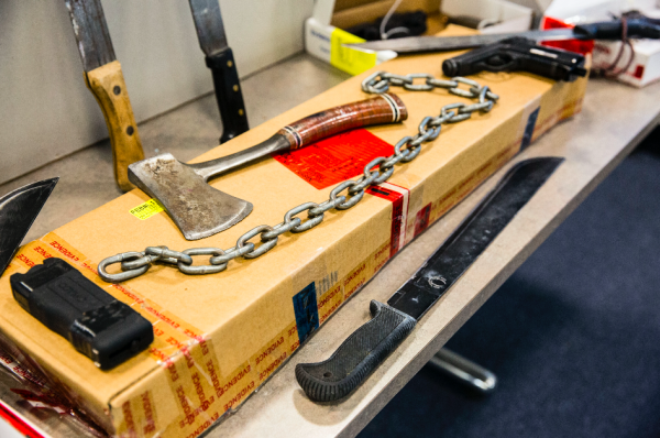 Weapons used by alleged MS-13 gang members named in the 85-count indictment, including eight attempted murders, in Nassau County, Long Island, N.Y., on June 15, 2017. (Samira Bouaou/The Epoch Times)
