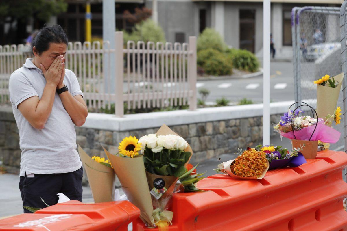 Mourner outside hospital