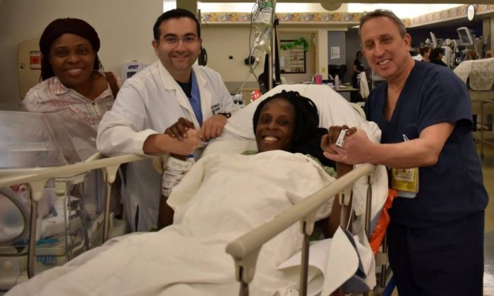 Thelma Chiaka with (L. to R.) Ebere Ofor, Dr. Ziad Haidar who delivered the babies and Dr. Israel Simchowit. (The Woman's Hospital of Texas)