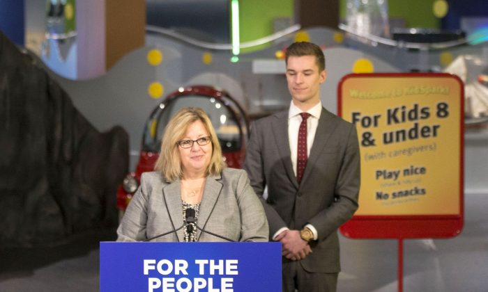 Ontario Education Minister Lisa Thompson stands alongside Parliamentary Assistant Sam Oosterhoff as she announces an update to the province's education program at the Ontario Science Centre in Toronto on March 15, 2019. (THE CANADIAN PRESS/Chris Young)