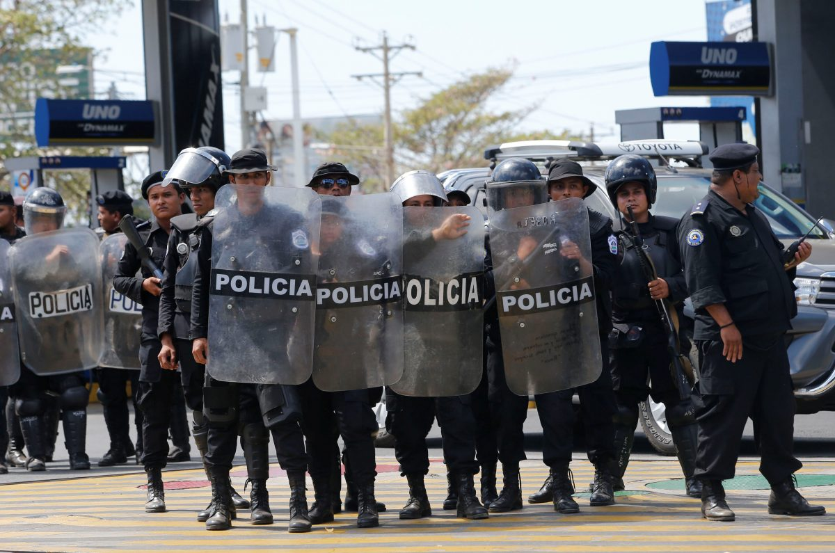 Riot police are pictured during a protest against the government of Nicaragua's President Daniel Ortega in Managua, Nicaragua