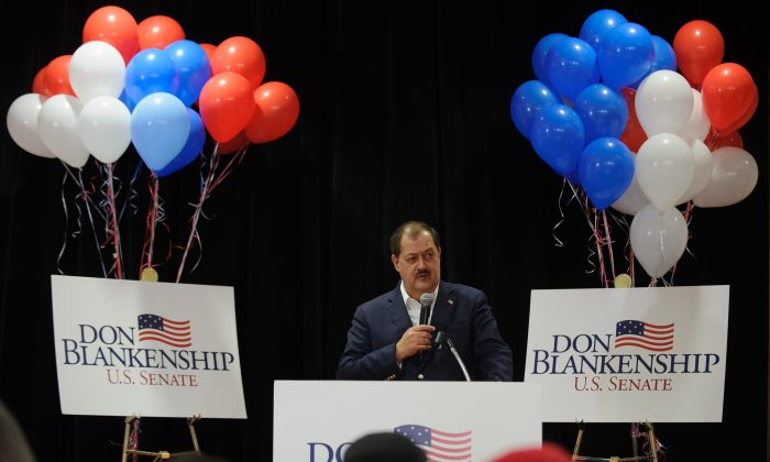U.S. Senate Republican primary candidate Don Blankenship addresses supporters following a poor showing in the polls, in Charleston, West Virginia on May 8, 2018. (Jeff Swensen/Getty Images)