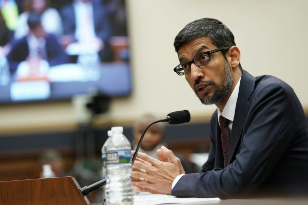 Google CEO Sundar Pichai testifies before the House Judiciary Committee at the Rayburn House Office Building