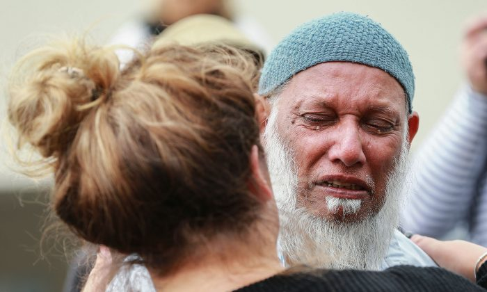 People of all cultures mourn lives lost in the Christchurch mosque attacks during a remembrance ceremony at Kilbirnie Mosque in Wellington, New Zealand, on March 17, 2019. (Hagen Hopkins/Getty Images)