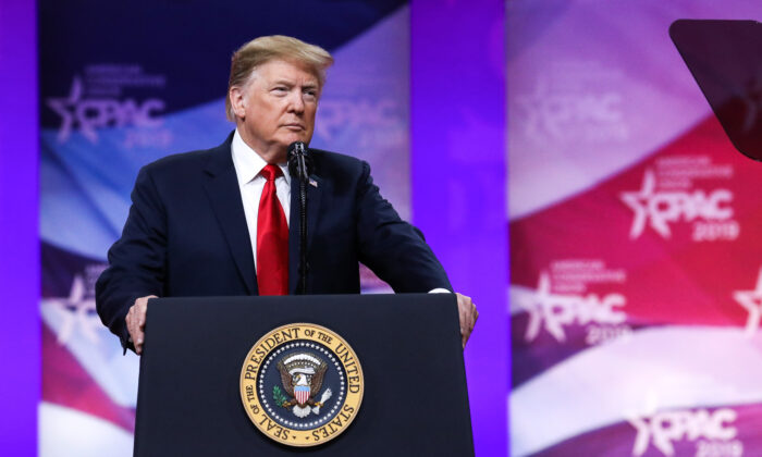President Donald Trump at the CPAC convention in National Harbor, Md., on March 2, 2019. (Samira Bouaou/The Epoch Times)