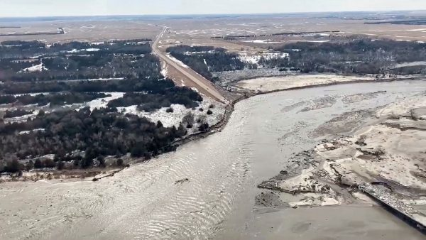 Highway 281 is seen damaged after a storm triggered historic flooding