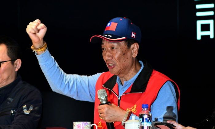 Terry Gou, CEO of Taiwan's Foxconn, gestures during a press conference at the company's headquarters in Tucheng District, New Taipei City on March 12, 2019. (Sam Yeh/AFP/Getty Images)