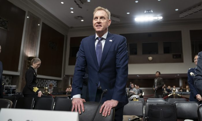 Acting Defense Secretary Patrick Shanahan goes before the Senate Armed Services Committee to discuss the Department of Defense budget, on Capitol Hill in Washington, DC on March 14, 2019.  (J. Scott Applewhite/AP)