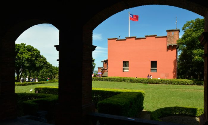 Taiwan's flag flies over the grounds of Fort San Domingo in the Tamsui District of New Taipei City on July 15, 2018. (Chris Stowers/AFP/Getty Images)