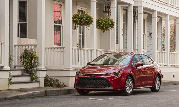 2020 Toyota Corolla LE in Barcelona Red Metallic. (Courtesy of Toyota)