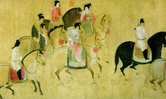 """Spring Outing of the Tang Court,"" 8th century, by Emperor Xuanzong era artist Zhang Xuan. (Public Domain)"