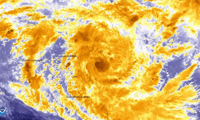 Tropical Cyclone Trevor, seen here by Suomi-NPP as it approaches the Cape York Peninsula in northern Queensland, Australia on March 18, 2019.