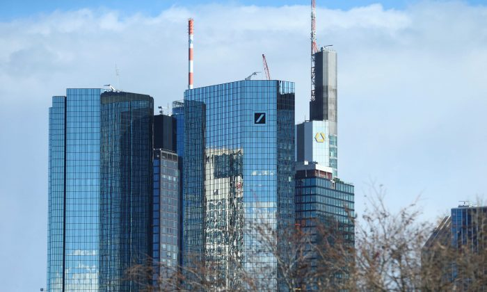 Outside view of the Deutsche Bank and the Commerzbank headquarters in Frankfurt, Germany, March 18, 2019. REUTERS/Ralph Orlowski