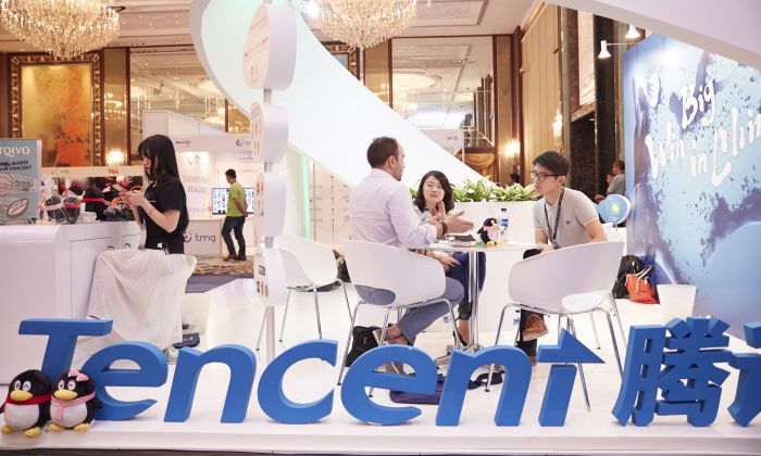 Tencent booth at Sportel Asia Conference on March 15, 2016 in Singapore.  (Sean Lee/Getty Images for Sportel)