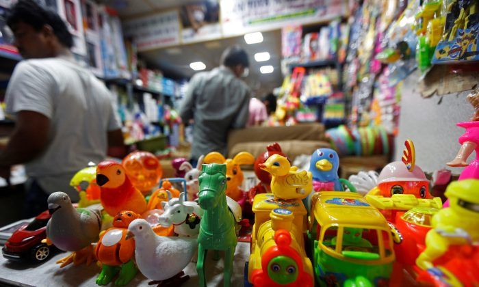 Toys are displayed inside a Chinese toy shop at a market in Kolkata, India on Oct. 11, 2017. (Rupak De Chowdhuri/Reuters)
