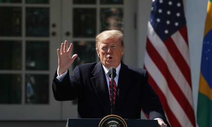 President Donald Trump speaks during a joint news conference with Brazilian President Jair Bolsonaro at the Rose Garden of the White House in Washington on March 19, 2019. (Mark Wilson/Getty Images)