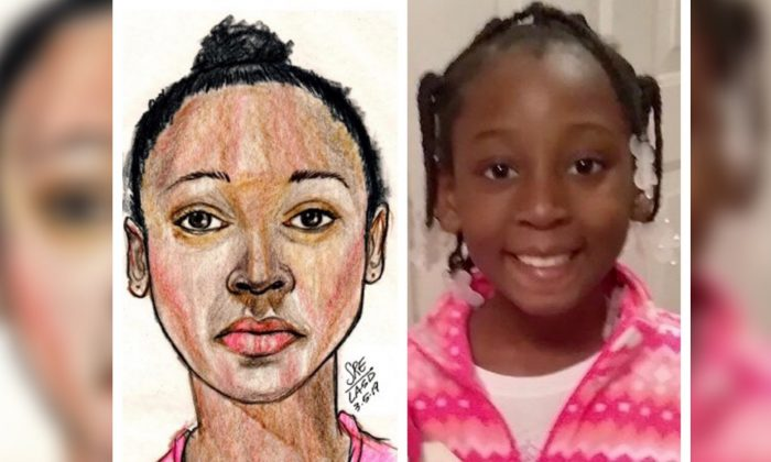 Trinity Love Jones, along with a police sketch, whose body was found on a trail in LA County, Calf., on March 5, 2019. (Los Angeles County Sheriff's Departmen)