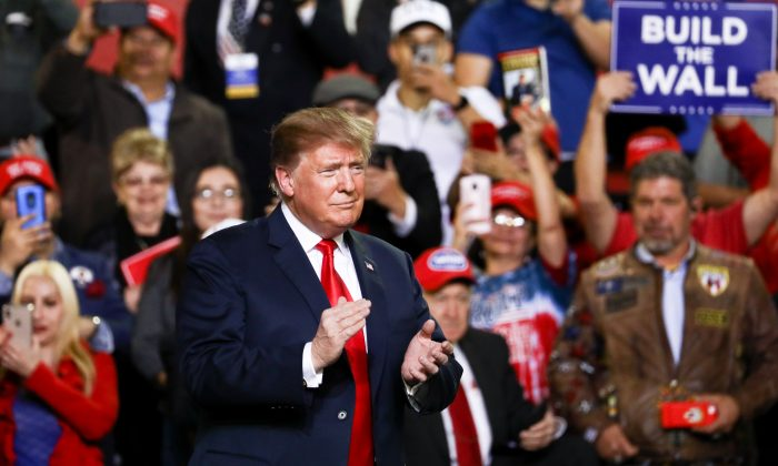 U.S. President Donald Trump at a Make America Great Again rally in El Paso, Texas, on Feb. 11, 2019. (Charlotte Cuthbertson/The Epoch Times)