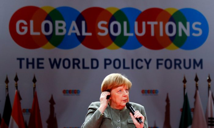 German Chancellor Angela Merkel takes part in a panel at the annual Global Solutions Summit in Berlin on March 19, 2019. (Fabrizio Bensch/Reuters)