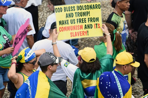"""Supporters of Brazilian President-elect Jair Bolsonaro, gather at the """"Tres Poderes"""" square"""