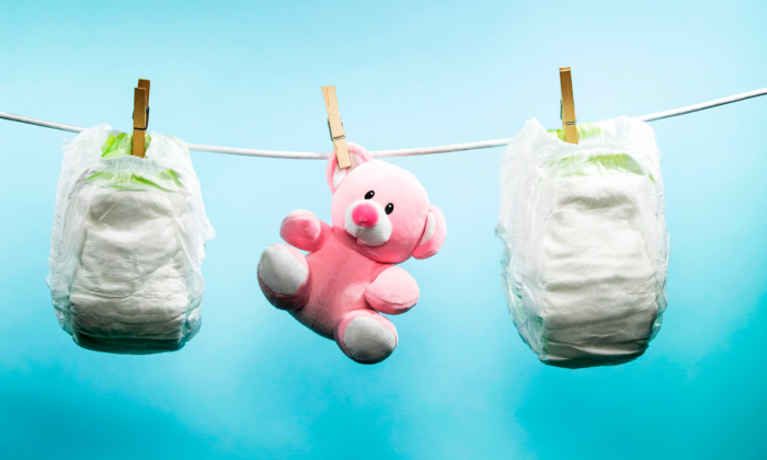 Baby diapers and toy. (JOEL SAGET/AFP/Getty Images)