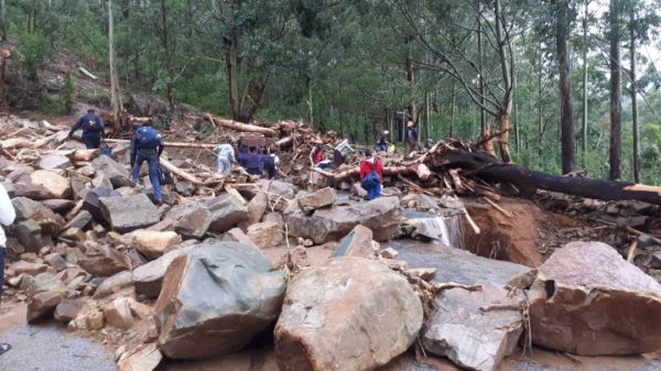 Students leave the school in Chimanimani,