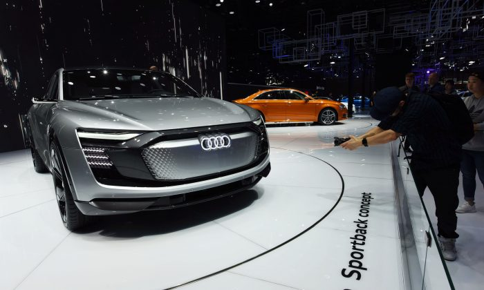 An Audi car is displayed during the second day of the 17th Shanghai International Automobile Industry Exhibition in Shanghai on April 20, 2017. (STR/AFP/Getty Images)